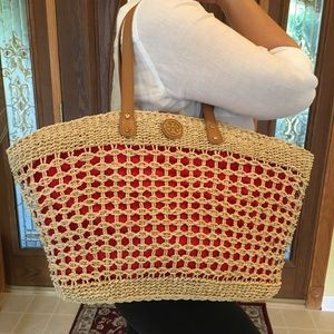 Tory Burch Straw Woven Tote Shoulder Bag Large